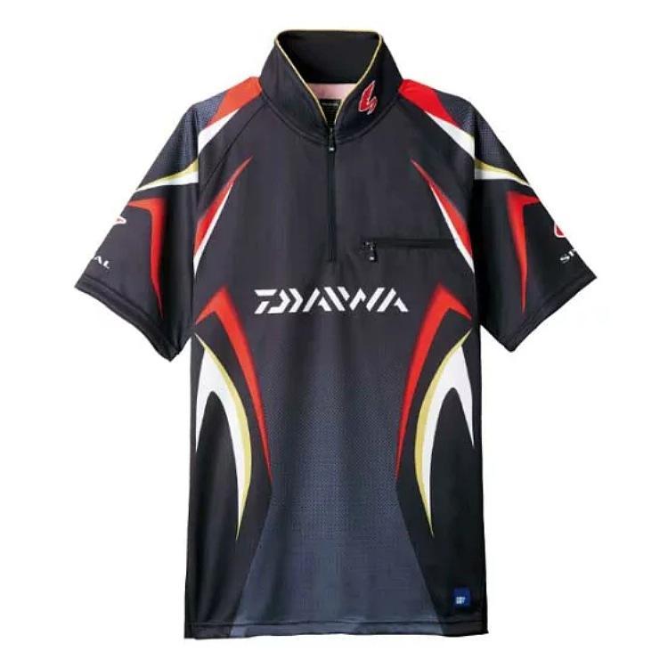 【銀行振込み特別価格!】ダイワ DE-7107スペシャル アイスドライ ジップアップ半袖メッシュシャツ ブラック L